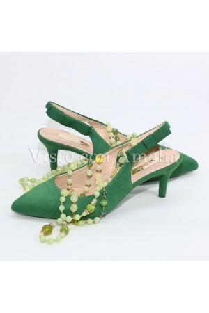 Zapato Verde tacón sensato