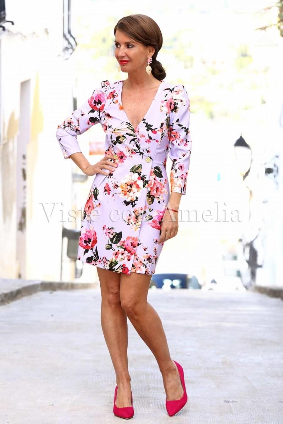 vestido blazer mujer malva y flores