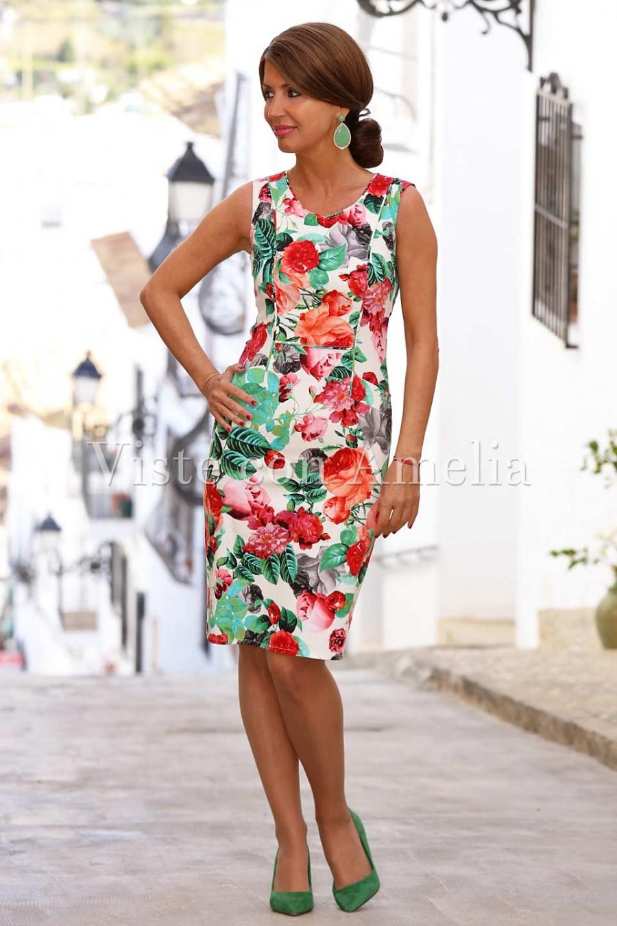 vestido de estampado floral corto