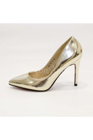 Zapato dorado - efecto pitón