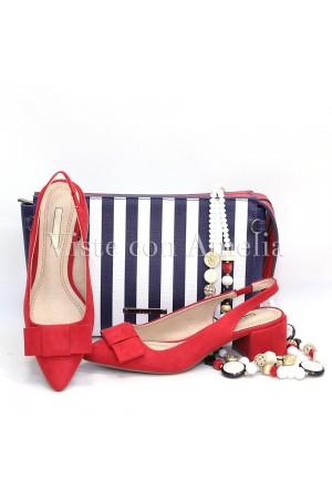 Zapato rojo lazo tacón ancho