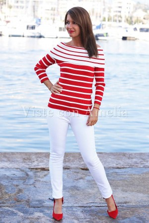 Camiseta punto cuello barco