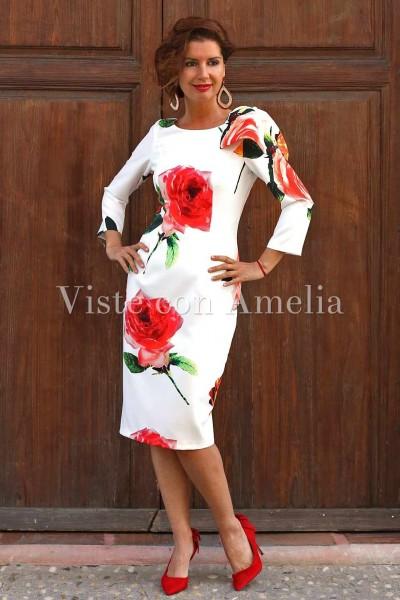 Vestido para invitada blanco con estampado de flores