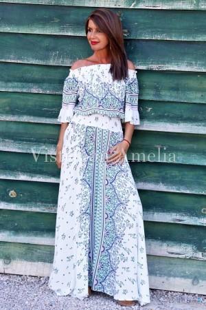 Vestido Boho Chic con escote barco elástico efecto 2 piezas