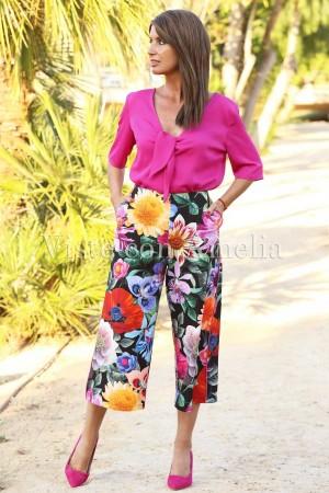 Pantalón Midi de tiro alto con alegre estampado de flores