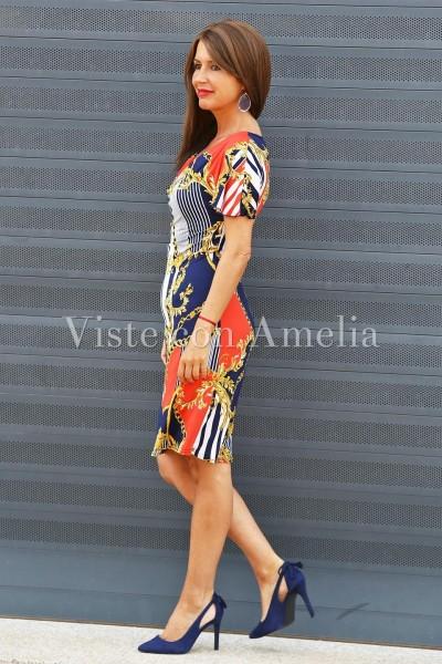 Vestido Leticia de punto de seda corto con un original estampado