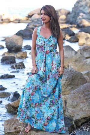 Vestido largo con estampado de motivos maritimos: conchas, estrellas de mar...