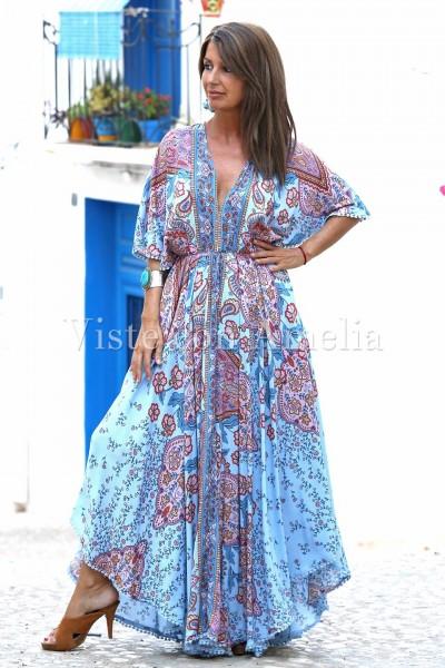Vestido Lupe largo de estilo boho chic con estampado en azul