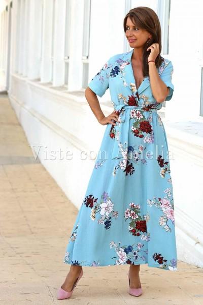Vestido largo de estilo romantico azul celeste y estampado flores