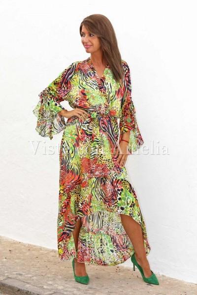 Vestido largo asimétrico con estampado de colores atrevidos