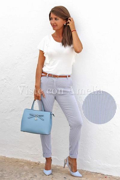Pantalones chinos elásticos de tiro medio con rayas blanco y azul