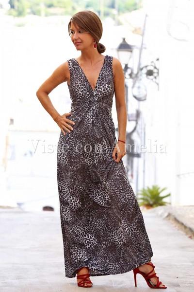 Vestido largo de punto frío tacto seda con estampado leopardo