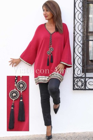 Jersey Over Size Damasco rojo