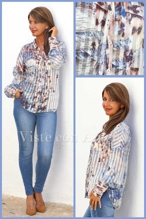Blusa Naila azul y marrón