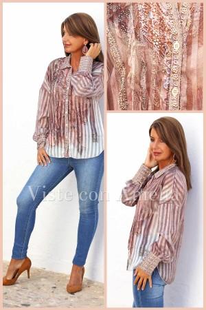Blusa Naila rosa y marrón