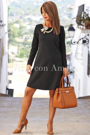 Vestido evasé negro