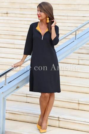 Vestido Solapa Mostaza