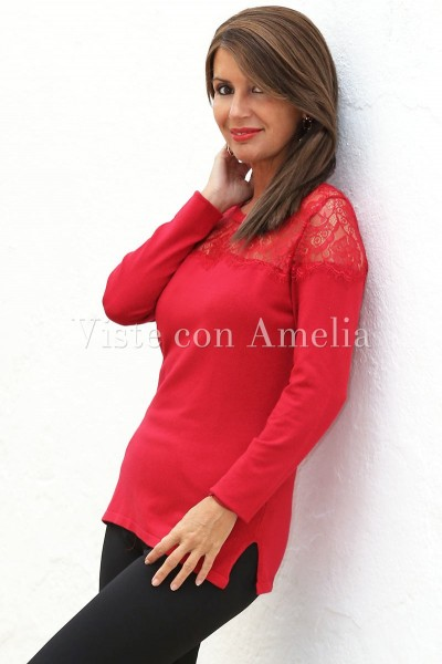 Suéter encaje rojo