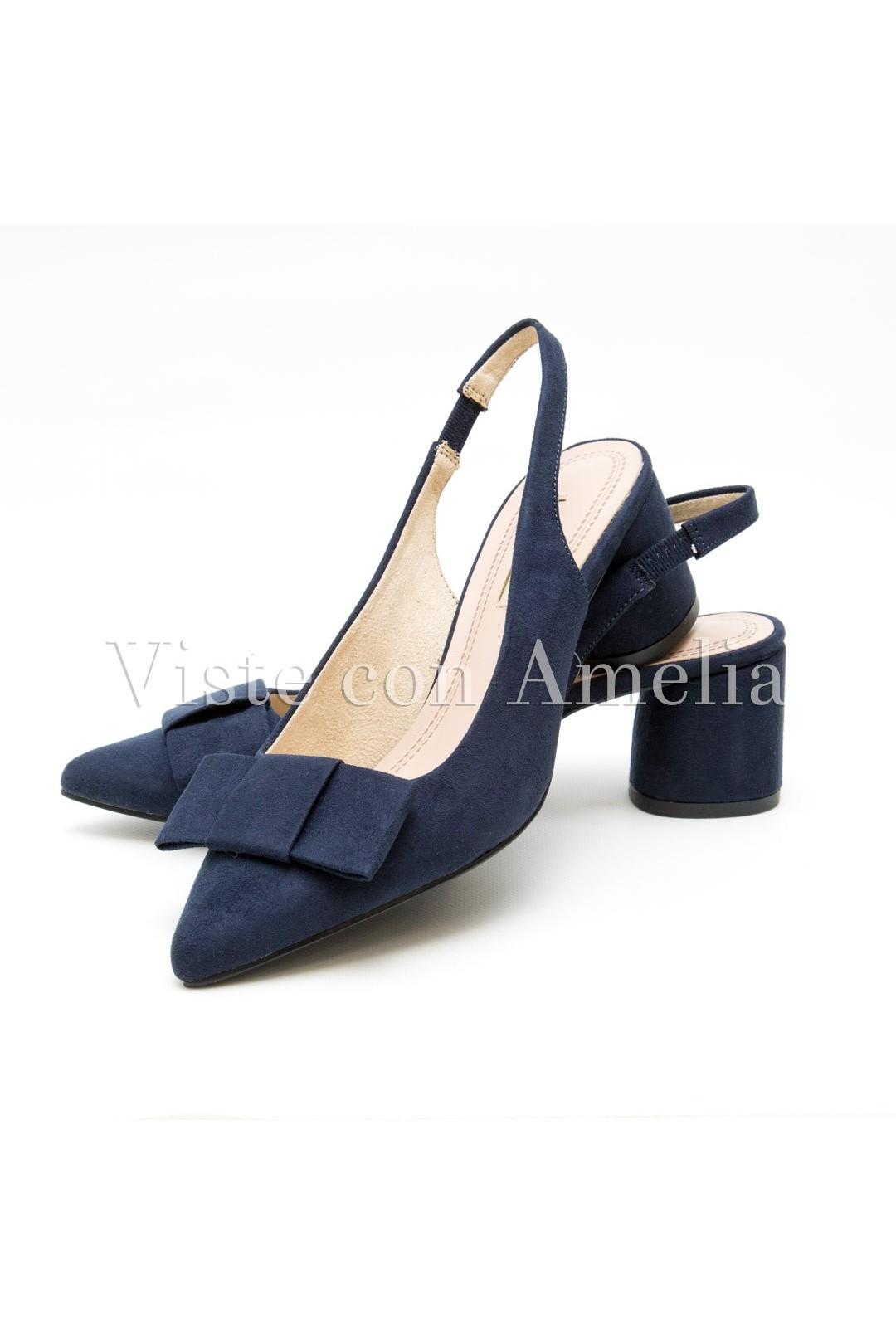 lo último 7abb3 9b11a Zapato Azul marino Tacón Sensato