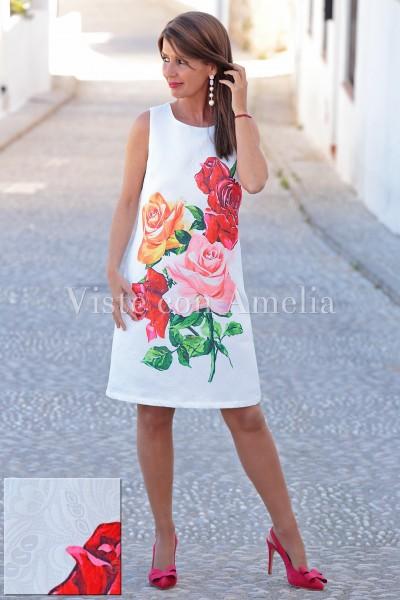 Vestido Rosas brocado