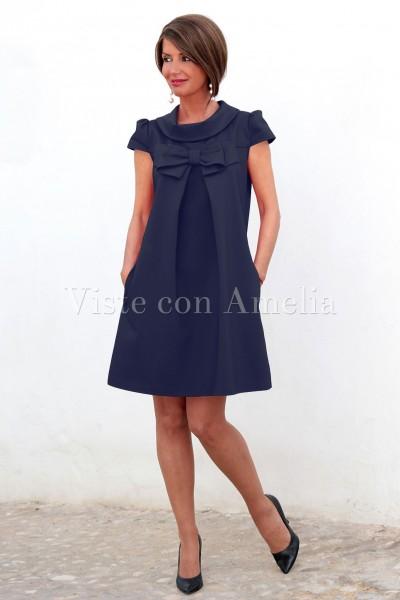 8b6389ce43 Vestido azul marino Filomena - Viste con Amelia