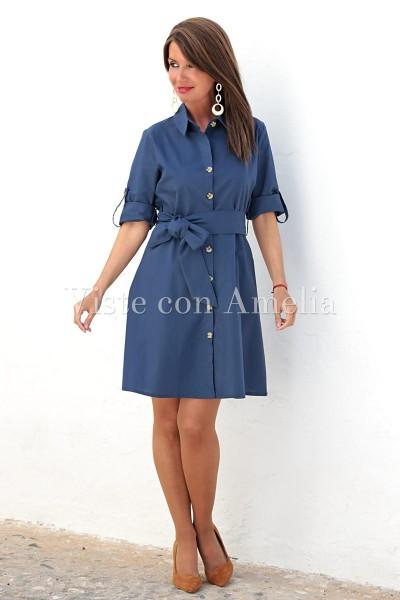 Vestido Algodón azul camisero