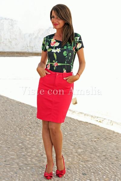 Falda Vaquera Roja elástica