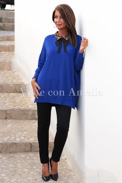 Suéter Cuello Animal print Azul