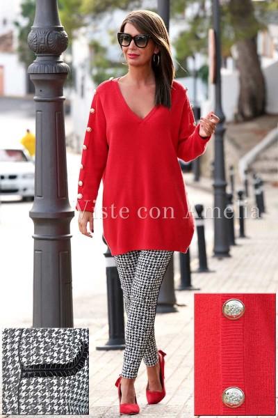 Suéter rojo botón fantasía