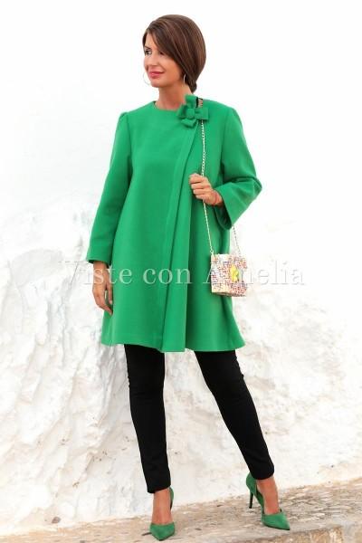 Abrigo evasé Verde