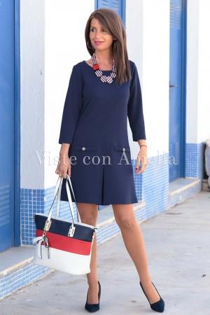 Vestido Piqué elástico Azul