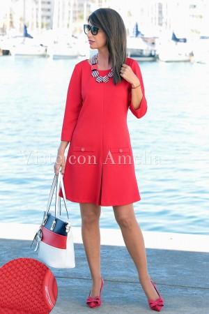 Vestido Piqué elástico rojo