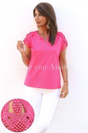 Camiseta hombros perlas Rosa