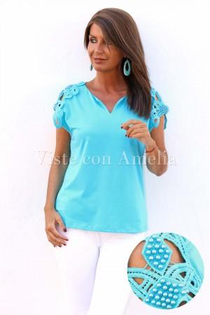 Camiseta Hombro perlas Azul