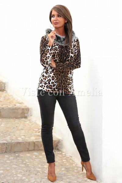 Suéter tigre Pelo cuello
