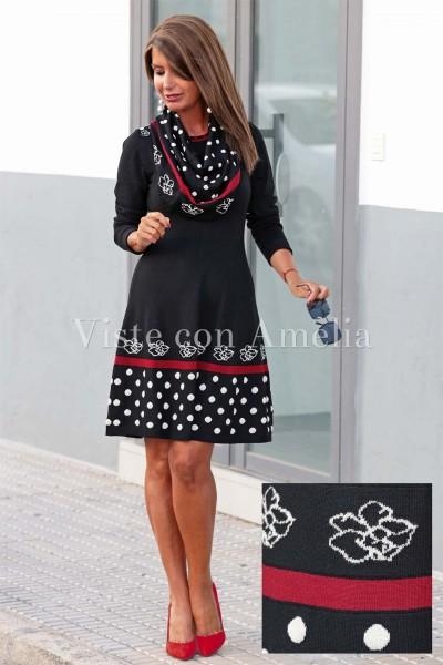 Vestido Lana Negro y Rojo