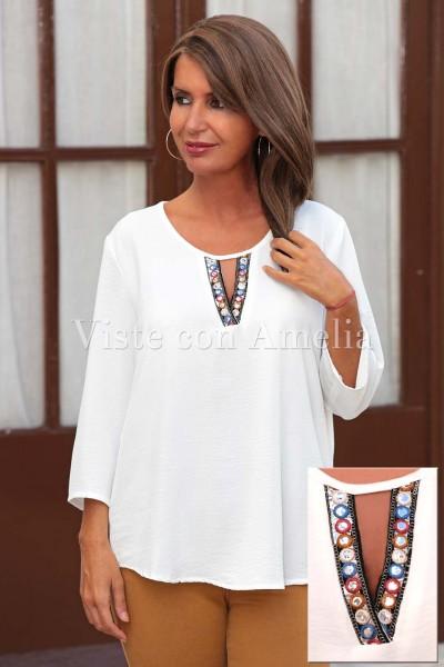 Blusa blanca Espejos