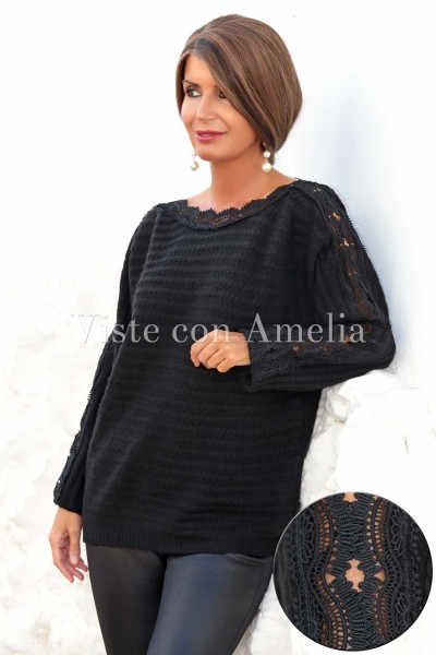 Suéter puntilla negro