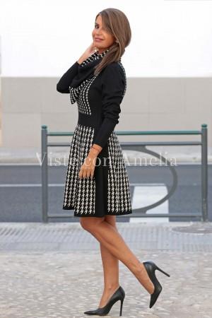 Vestido Punto cuello quita y pon Dama Negro