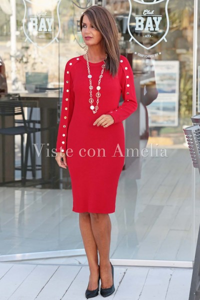 Vestido Punto Rojo Botones