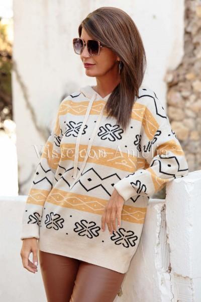 Suéter de punto con capucha Monada