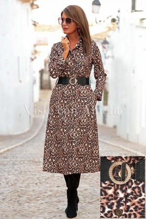 Vestido camisero Chantal Animal Print
