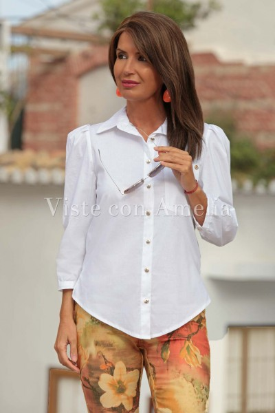 Camisa blanca manga abullonada