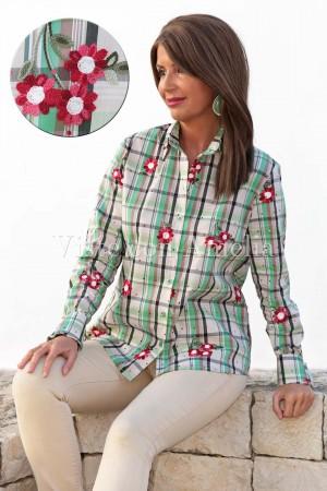 Camisa cuadros bordada