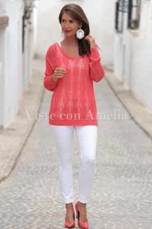 Suéter Calado Coral