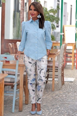 Camisa Abullonada Azul