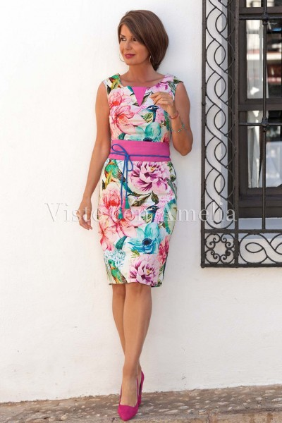 Vestido Clementina fajín Buganvilla