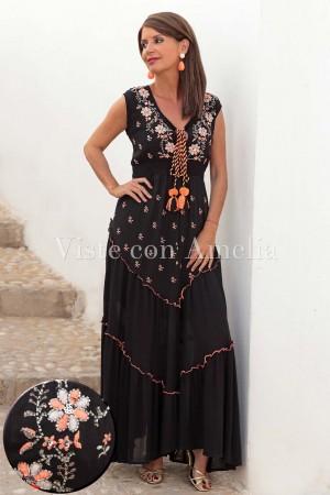 Vestido Bordado Coral y Negro