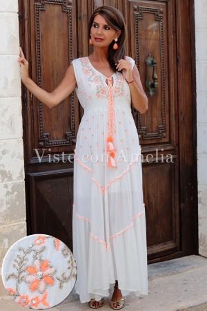 Vestido Bordado Coral y Blanco