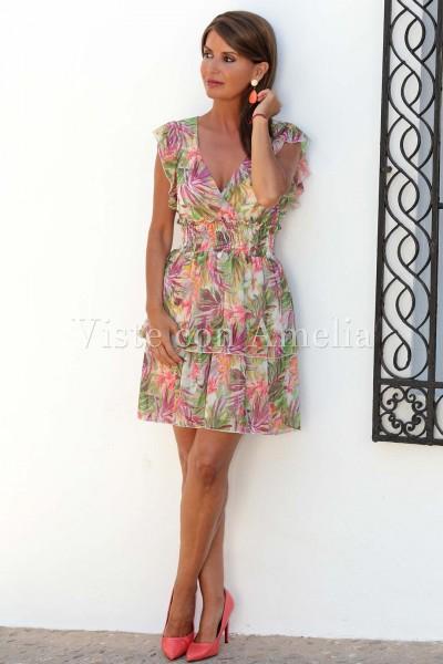Vestido Gasa Flores Tropical